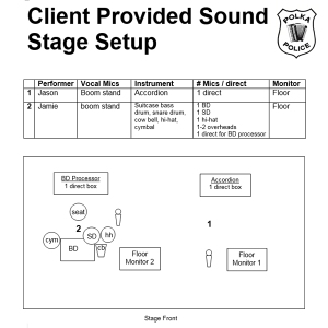 Polka Police Client Provided Sound Stage Setup